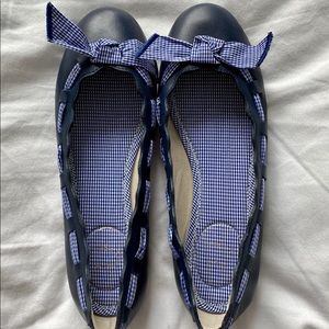 Jack Rogers navy flats with gingham bow - size 6.5